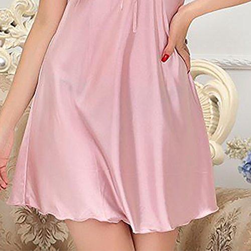 Aivtalk - Conjunto de Pijamas (Vestido+Bata) de Seda de Moda Ropa de Dormir Camisón 2 Piezas de Mujer Rosa Claro