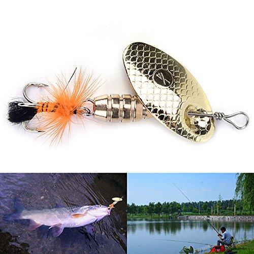 SNNplapla Metal Fishing Lure Vibration Hard Baits Spinner Spoon Lure Hook Tackle, 5.5 Gram