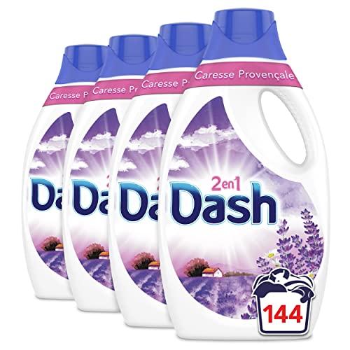 Dash 2en1 Caresse Caresse Provençale Lessive Liquide, 144 Lavages (1.8L x 4), Nettoie Vos Vêtements En Profondeur Pour Des Résultats Éclatants
