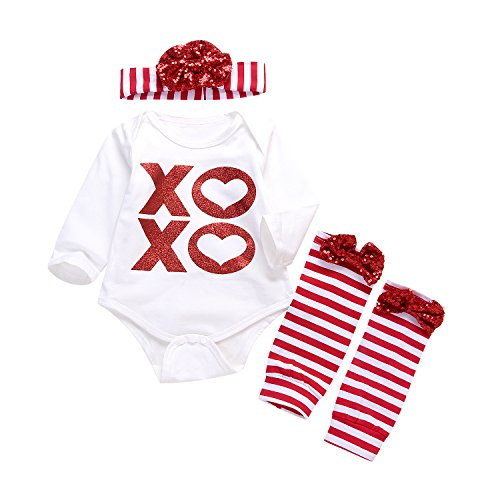 3Pcs Baby Boy Girls Bronzing Letters Romper+Sequins Bowknot Striped Leg Warmer+Headband Warm Outfit (3-6Months, Red&White)