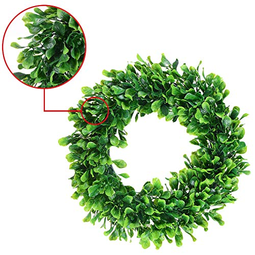 OSKIDE Boxwood Wreath, Artificial Green Leaves Wreath- 17