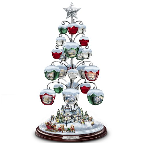 Thomas Kinkade Jingle All The Way Bell Ornament Tabletop Christmas Tree by The Bradford Exchange