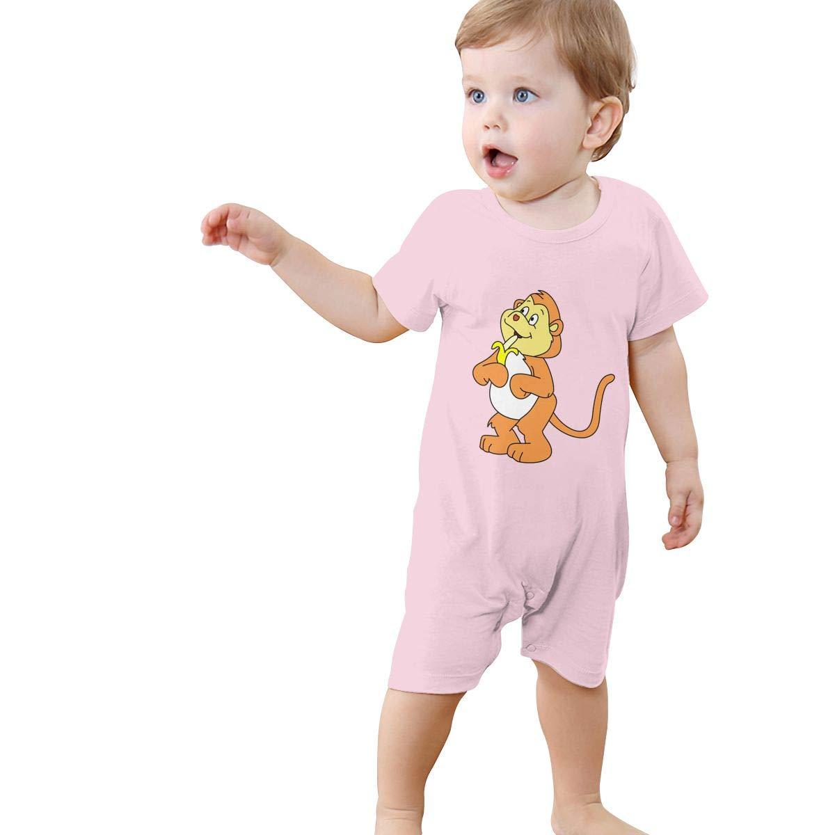 Srggkjs Monkey Banana Baby Boys Girls Clothes Funny Short Sleeve Jumpsuit.