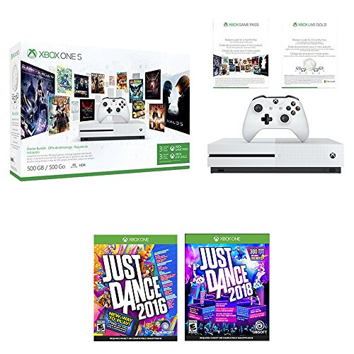 Xbox One Just Dance Bonus Bundle (3 Items): Xbox One S 500GB Console Starter Bundle, Just Dance 2018, and Just Dance 2016 Games