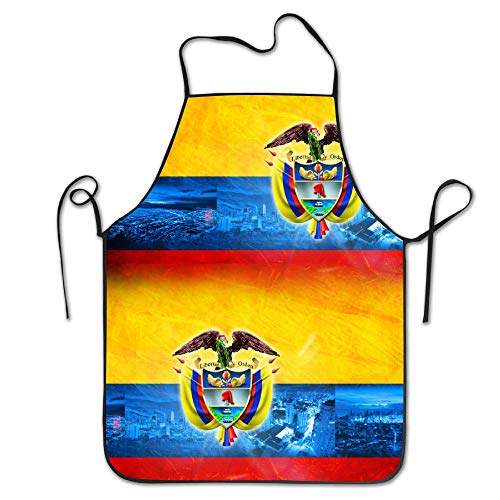Lead-Do Colombia Flag Map Kitchen Aprons Funny Adjustable Chef Bibs for Cooking Grill&Baking