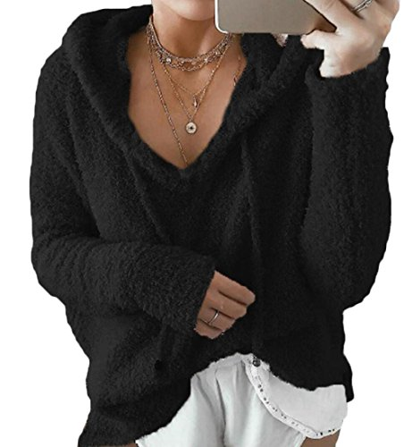 Superiore Donne pelliccia Pullover Moda Le Eco Con M Parte Della Nera S Felpa Del Cappuccio W Manica Raccolto amp; amp; Lunga 7fZqXz
