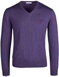 """<span class=""""a-offscreen"""">[Sponsored]</span>Collection Purple V-Neck Wool Sweater"""