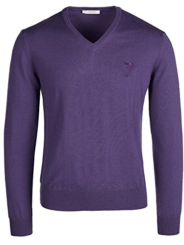 Versace Collection Purple V-Neck Sweater - Versace Service Customer