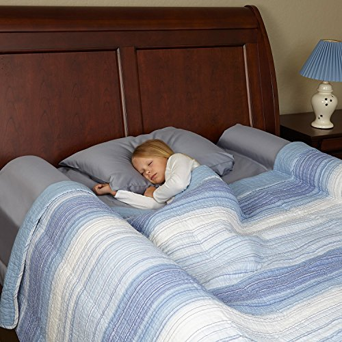 [2-Pack] hiccapop Foam Bed Bumpers Toddler Bed Rails with Water-resistant Cover for Kids - Safety Side Pillow Pads (Place Twin Loft Bed)