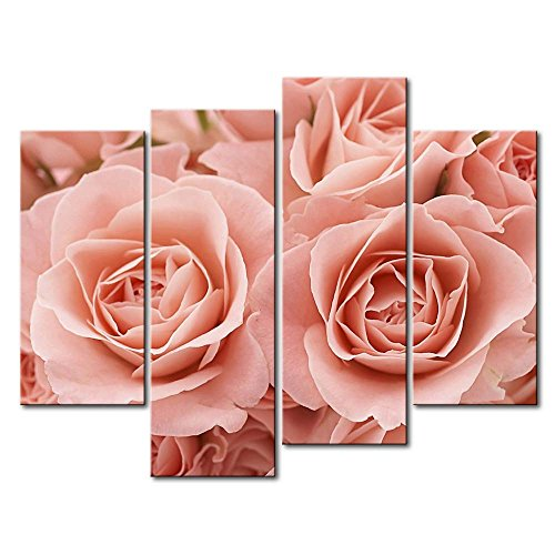 So Crazy Art - Canvas Print Wall Art Painting For Home Decor,Pink Roses 4 Pieces Panel Paintings Modern Giclee Stretched And Framed Artwork Oil The Picture For Living Room Decoration,Flower (Painting Pink Roses)