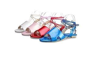 Beauqueen Sandalen Frauen Frühling und Sommer flache Handgelenk Armband weiblich rosa weiß rot blau Casual Urlaub Schuhe spezielle Größe Europa Größe 34-48 , red , 43 (not returned)
