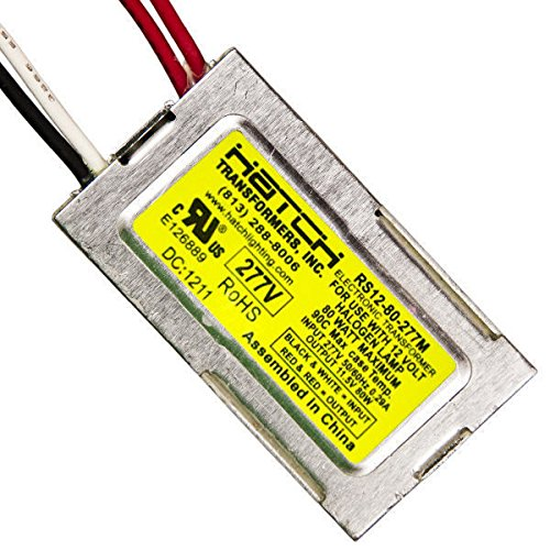 12V Electronic LV Transformer - Min/MaxWage 5-80W InputVage 277V For Use with Halogen Lamps - Side Leads - Hatch RS12-80-277M ()