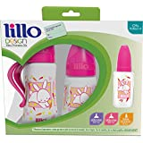 Kit de Mamadeiras 300 ml, 180 ml e 50 ml Design Fashion Silicone, Lillo do Brasil, Rosa