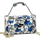 Show Story Women's Blue Skull Purse Wallet Clutch Handbag Cross-body Bag Card Case Coin Case,FB90010BU00