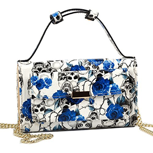 Show Story Women's Blue Skull Purse Wallet Clutch Handbag Cross-body Bag Card Case Coin Case,FB90010BU00