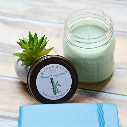 (Bamboo and Sugar Cane Scented Soy Mason Jar Candle, 8 oz)