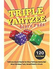 Triple yahtzee score pads: V.8 Yahtzee Score Cards for Dice Yahtzee Game Set Nice Obvious Text, Small Print 6*9 inch, 120 Score pages