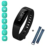 Fitness Tracker: Blood Pressure Watch Heart Rate Sleep Monitor Smart Band | Smart Bracelet with Steps Calorie Notification Alerts for iPhone Android (Black + Blue Straps)
