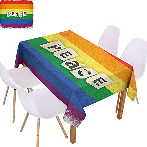 Rectangular Tablecloth Pride Grunge and Colorful Striped Backdrop Peace Wording Vintage Gay Lesbian Flag Print Table Decoration W60 xL84 Multicolor]()
