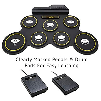 Ivation Portable Electronic Drum Pad - Digital Roll-Up Touch Sensitive Drum Practice Kit - 7 Labeled Pads 2 Foot Pedals Kids Children Beginners (No Speakers/AAA Battery Operated): Electronics