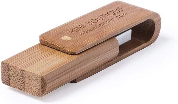 Memoria USB 16 GB en Madera de Bambú Personalizado (Nombre o Texto) • Pendrive Ideal para Regalar • Original y Elegante Producto Promocional • Presentada en Estuche Individual de Cartón Reciclado: Amazon.es: Electrónica