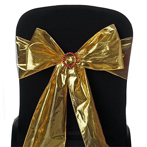 (BalsaCircle 10 Gold Shiny Metallic Tissue Lame Chair Sashes Bows Ties - Wedding Party Ceremony Reception Decorations Supplies)