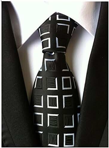 Allbebe Men's Classic Business Black&White Plaid Woven Microfiber Tie Necktie
