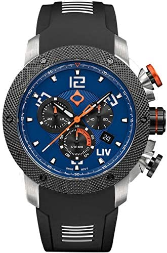 LIV GX1 Swiss Analog Display Chronograph Casual Watch for Men 45 mm Stainless Steel with Date Calendar 1000 feet Waterproof – Cobalt
