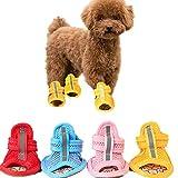 yanbirdfx 4Pcs Rubber Sole Mesh Cotton Breathable Anti-Skid Pet Shoes Dog Puppy Sandals - Blue 2#