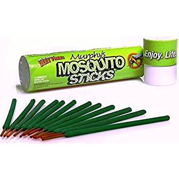 Murphy's Mosquito Sticks - Natural and DEET Free Insect Repellent Incense Stick - Bamboo infused with Citronella, Lemongrass and Rosemary 12-sticks per pack