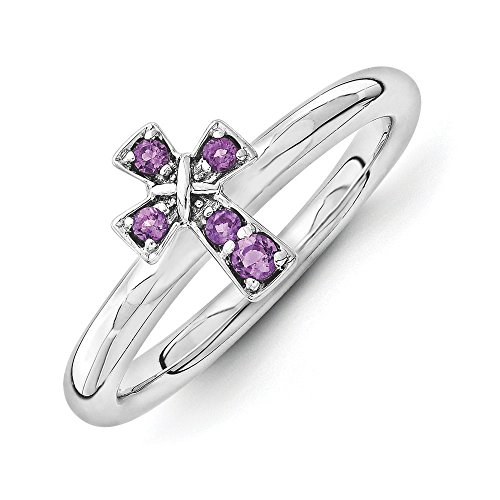 Amethyst Silver Plated Cross - 2