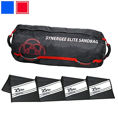 Synergee Elite Adjustable Fitness Sandbag with (4) Filler Bags 25-100lbs Heavy Duty Weight Bag - ()