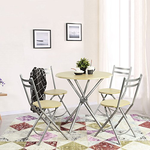 Ihouse 5 Piece Wood Patio Round Dining Tea Coffee Table and Folding Chairs Set for Kitchen,Garden - Chair Outdoor Steel Folding