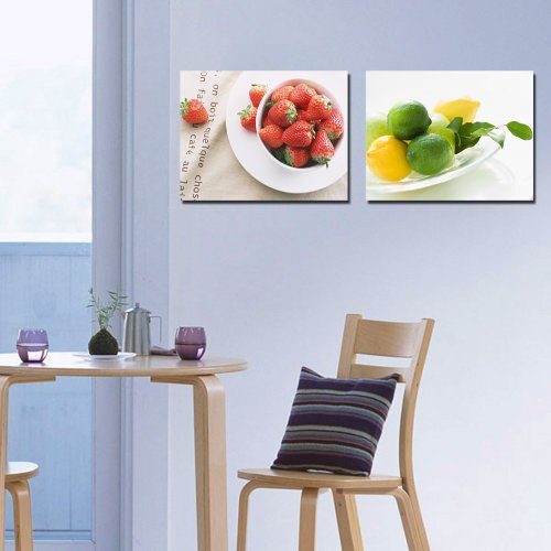 Espritte Art-Huge Canvas Print Wall Art Strawberry and Lemon Modern Home Decoration Painting set of 2 Each is 50*50cm, Stretched and Framed, Ready to Hang #D07-233