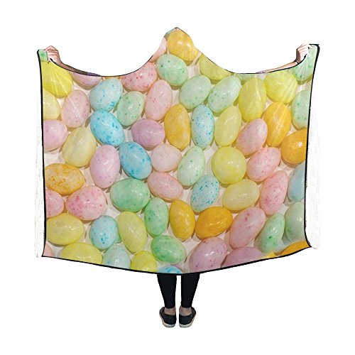 RYUIFI Hooded Blanket Easter Jelly Beans Candy Pastels Round