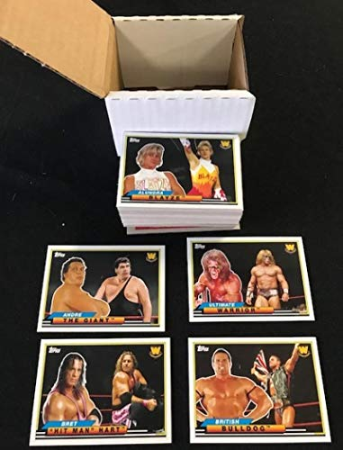2018 Topps Heritage WWE Complete NM-MT Hand Collated Wrestling Set of 50 Cards - Includes the following cards Bob Backlund, Booker T, Bret Hit Man Hart, British Bulldog, Bruno Sammartino, Brutus The Barber Beefcake, Cowboy Bob Orton, Dean Malenko, Diamond Dallas Page, Dusty Rhodes, Eddie Guerrero, Edge, George The Animal Steele, Greg The Hammer Valentine, Hacksaw Jim Duggan, Harley Race, The Honky Tonk Man, Iron Sheik, Irwin R. Schyster, Jake The Snake Roberts, Jerry The King Lawler, Jim The A from WWE Wrestling