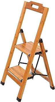 Taburete Plegable Escalera De Madera Maciza, 2 Pasos Escalera Plegable For El Hogar Escalera De Un Solo Lado Bambú De Madera, Ensanchamiento De Engrosamiento Escaleras Plegables: Amazon.es: Bricolaje y herramientas