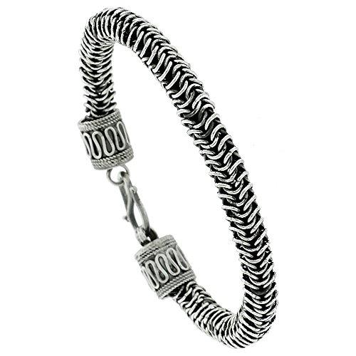 8 inch Sterling Silver Bali Style Bracelet, 3/8 inch by Sabrina Silver