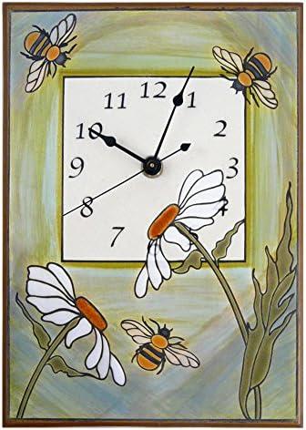 Modern Artisans Busy Garden Bees Handmade Ceramic Art Wall Clock