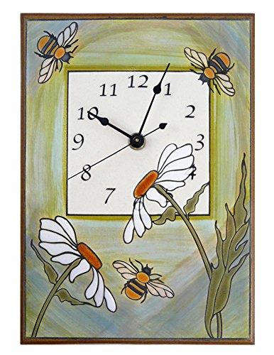 Modern Artisans Busy Garden Bees Handmade Ceramic Art Wall Clock, 7.5