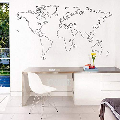 - huaxiazu Outline World Map Vinyl Wall Sticker Wall Sticker World Map for House Living Room Decor Decking Bedroom Art Deco Wall Painting 74 X 42cm