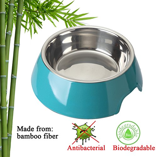 Mainstreet Dog Bowls Stainless Steel Bamboo Fiber Water and Food Feeder with Stand Animal Pet Food Holder Eco-Friendly for Dogs Cats (Blue, Medium) by Mainstreet (Image #1)