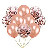 Rose Gold Confetti Balloons Set - 30 Pack Pre-filled Confetti Metallic Latex Party Balloons, Great for Weddings, Birthday Party, Bridal Shower, Engagment Party Decoration (12 Inch)