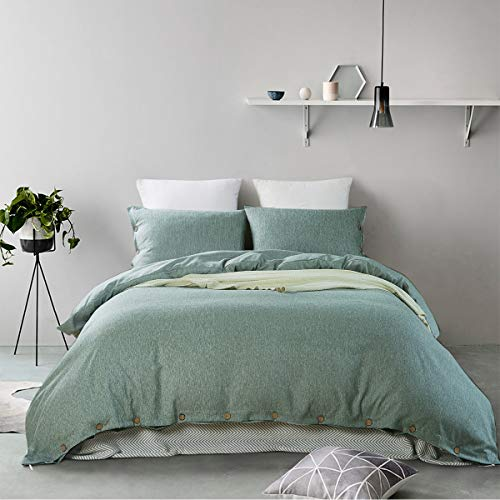 MUKKA 3 Pieces Heather Yarn Dyed Cotton Linen-Like Chambray Modern Simple Style Coconut Buttons Closure Duvet Cover Bedding Set Soft Luxuy Bed Linen (Green Heather, Queen)