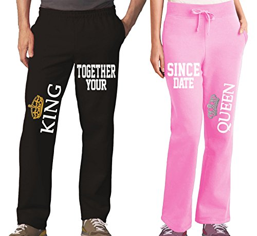 King Queen Cool Couples Pajama Pants & Bottoms - Matching Couple Outfits for Men & Women - Drawstring Sweatpants with Pockets - Family Pajamas for Him and Her - His Hers Sweat (Pants Couple Sets)