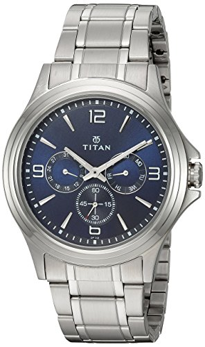 Titan Workwear Men's Chronograph Watch | Quartz, Water Resistant, Stainless Steel Band | Silver Band and Blue Dial from Titan