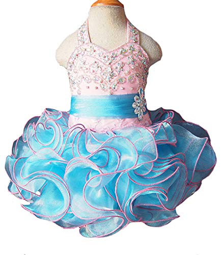 HZCQ Little Girls' Birthday Party Gowns Infant Pageant Tutu Dress 1 US Pink ()