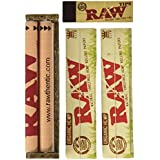 Raw King Size Organic Deal - King Size Slim Organic Rolling Papers, 110mm Rolling Machine and Wide Filter Tips INCLUDES Black Velvet Pouch
