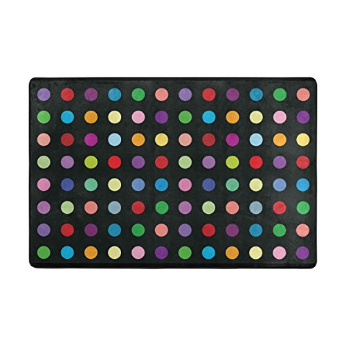 Multi Colored Polka Dots Area Rug Pad Non-Slip Kitchen Floor Mat for Living Room Bedroom 5' x 7' Doormats Home Decor (Dots Colored Polka Multi)