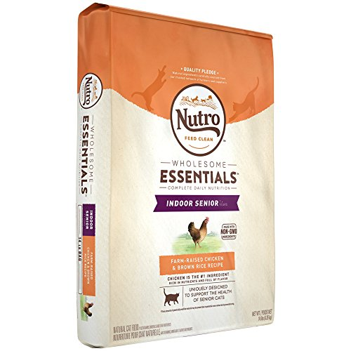 NUTRO WHOLESOME ESSENTIALS Indoor Senior Farm-Raised Chicken & Brown Rice Recipe 14 Pounds; Rich in Nutrients and Full of Flavor; Supports Heart Health & Healthy Skin and Coat